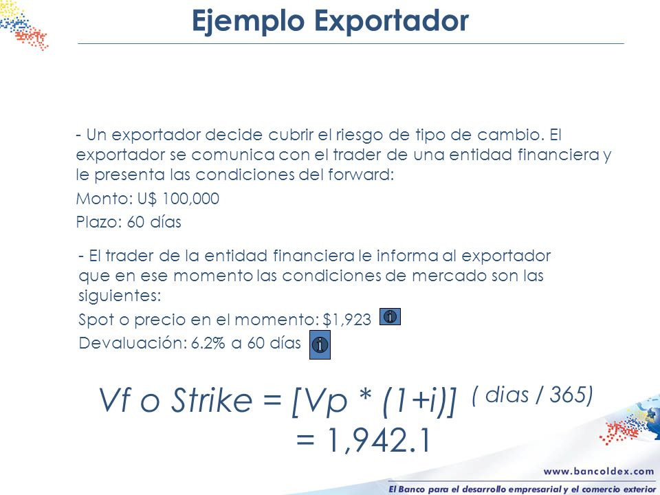 Vf o Strike = [Vp * (1+i)] ( dias / 365) = 1,942.1